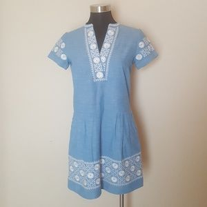 Madewell Size XS Shift Dress Chambray Embroidered